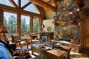 Interior, horizontal, great room toward windows and fireplace, Knudten residence, Pine Canyon Club, Flagstaff, Arizona, Town & Country Cedar Homes