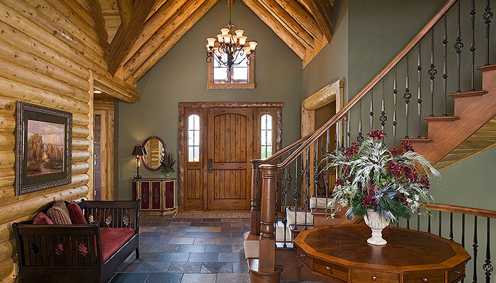 Log Home Foyer : Northville foyer town country cedar homes