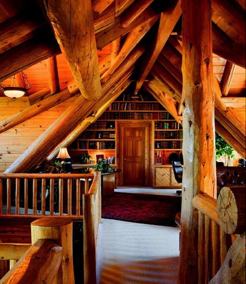Luxury Log Cabin Office : Custom log home builders luxury cabin designers for