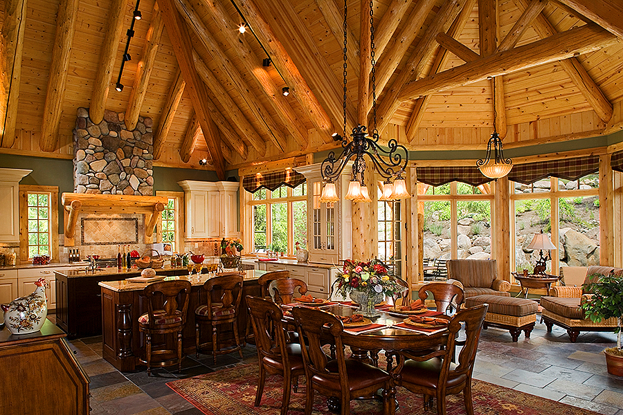 Country Log Home Kitchens