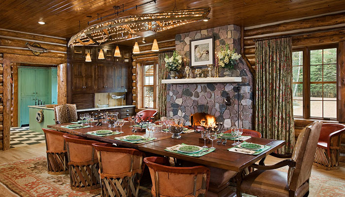 Elklake interior town country cedar homes for Case in stile ranch in stile log cabin