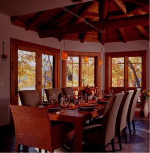 Log home floorplans for dining rooms