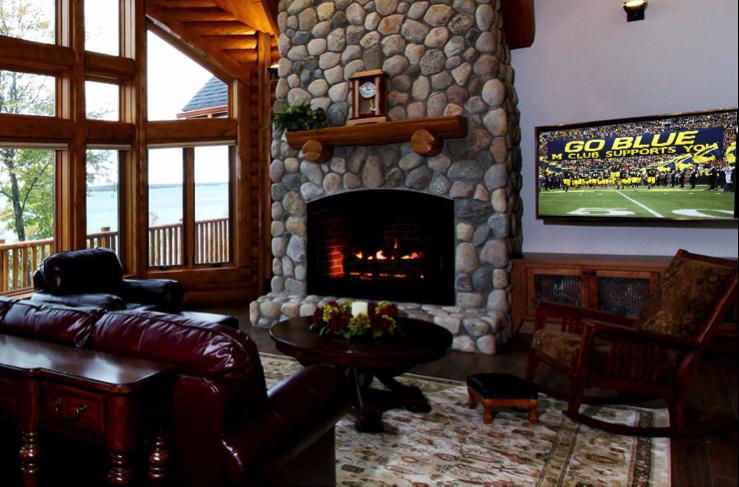Log Home Gas Fireplace