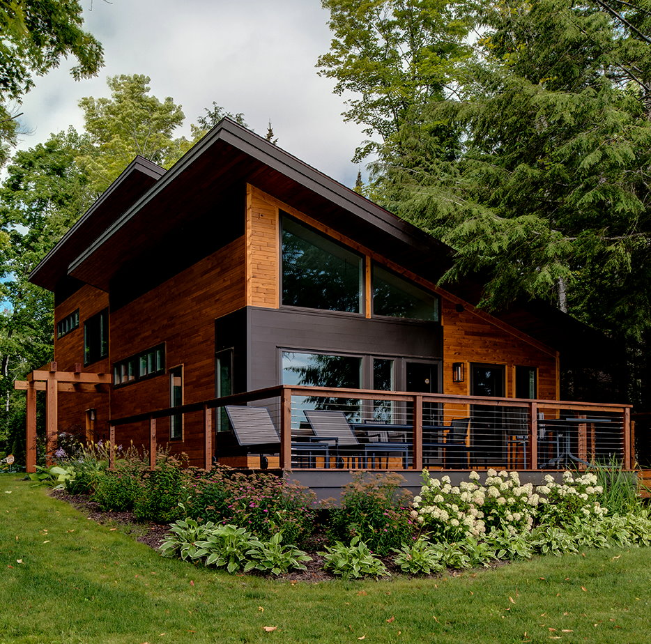 Modern Log Cabin Rail Porch