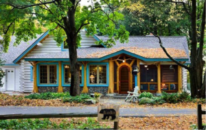 log cabin with blue trim
